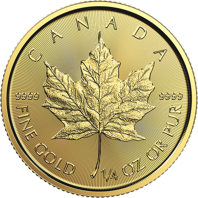 1/4 oz Canadian Gold Maple Leaf Obverse