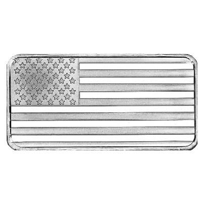 10 oz American Flag Silver Bar