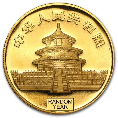 30 Gram Chinese Gold Panda (Random Year) Reverse
