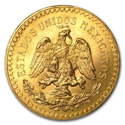 1.205 oz Mexican $50 Gold Peso (Random Year) Reverse