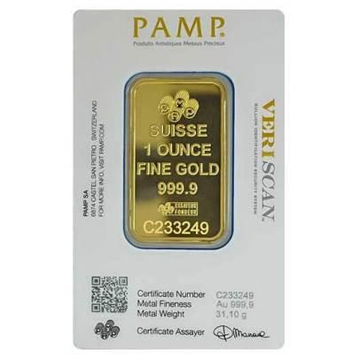 1 oz PAMP Suisse Fortuna Gold Bar Reverse
