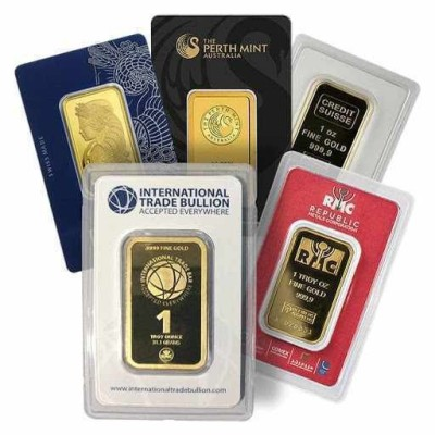 1 oz Gold Bar (Various Brands)