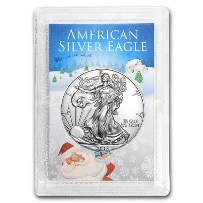 2018 1 oz American Silver Eagle (Santa Holder)