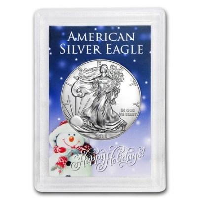 2018 1 oz American Silver Eagle (Snowman Holder)