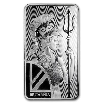 100 oz Britannia Silver Bar Obverse