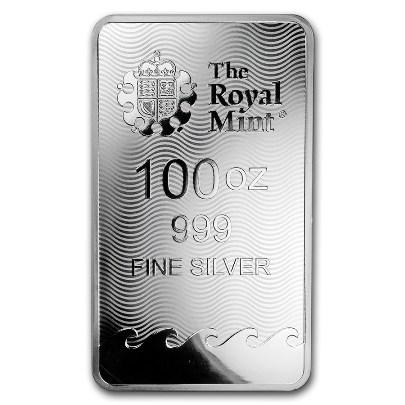 100 oz Britannia Silver Bar Reverse